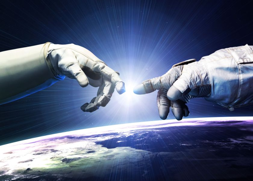 46700340 - michelangelo god's touch. close up of human hands touching with fingers in space.